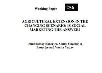 Agricultural Extension in the Changing Scenario Is Social Marketing the Answer