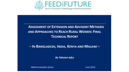 Assessment of Extension and Advisory Methods and Approaches to Reach Rural Women – Examples from Bangladesh