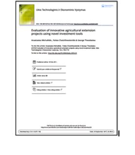 Evaluation of innovative agricultural extension projects using novel investment tools