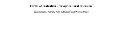 Forms of evaluation – for agricultural extension