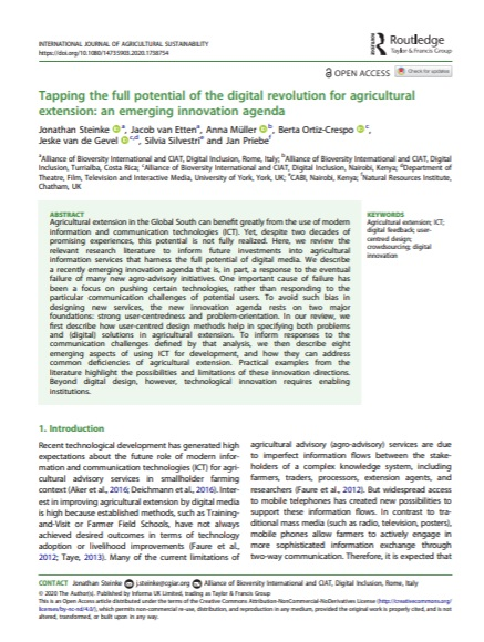 tapping the full potential of the digital revolution for agricultural