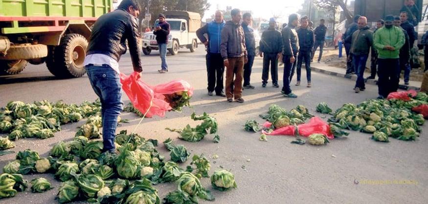 vegetable thrown on road