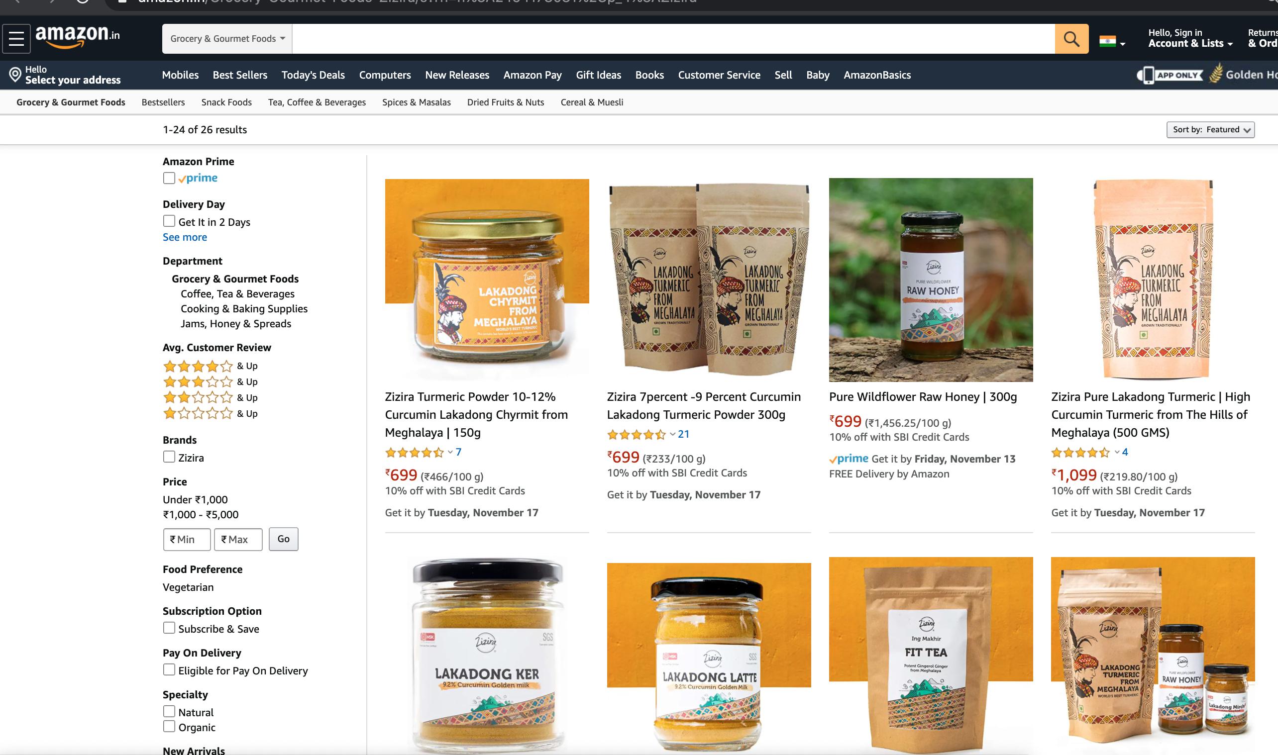 Zizira Page in Amazon