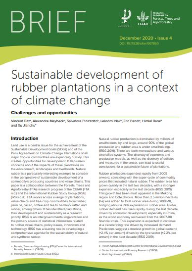 Sustainable development of rubber plantations in a Context of Climate Change