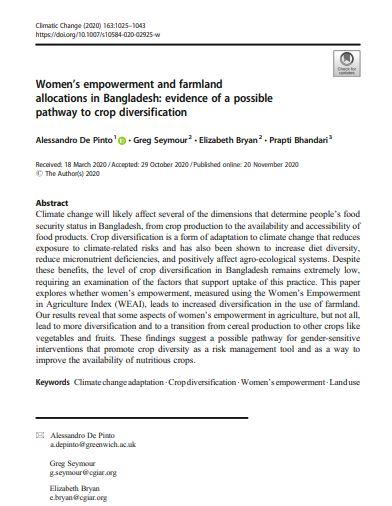 Women's empowerment and farmland