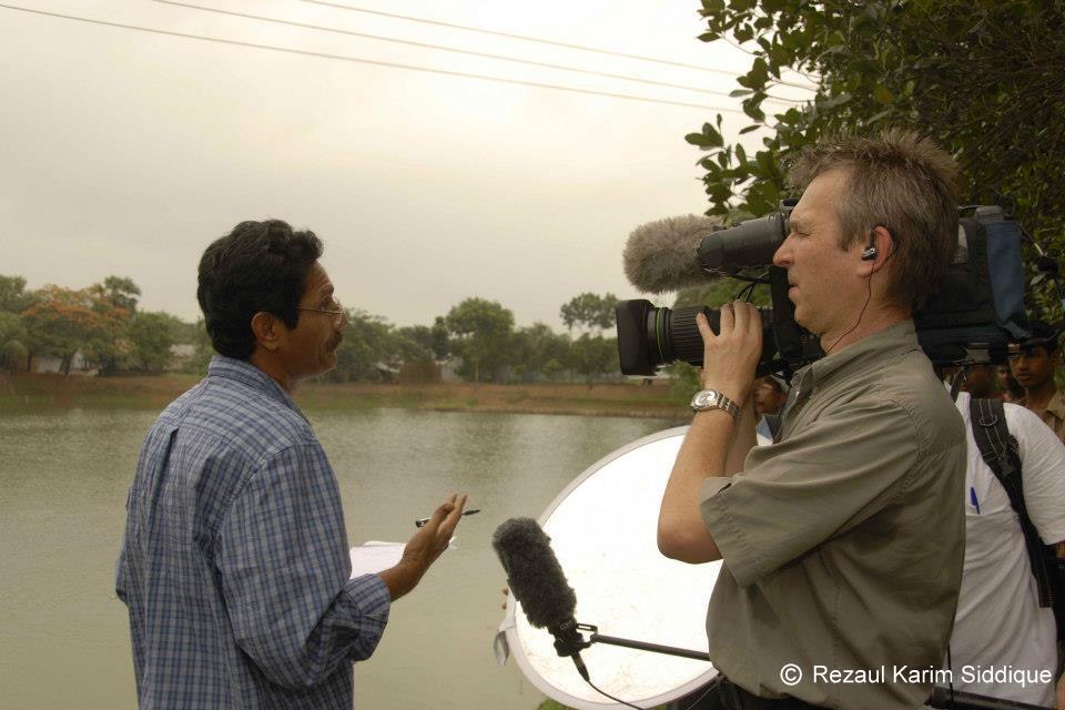 Shooting at aquaculture pond