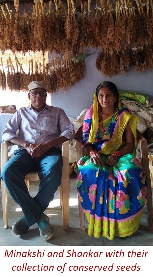 Minakshi and Shankar with their collection of conserved seeds
