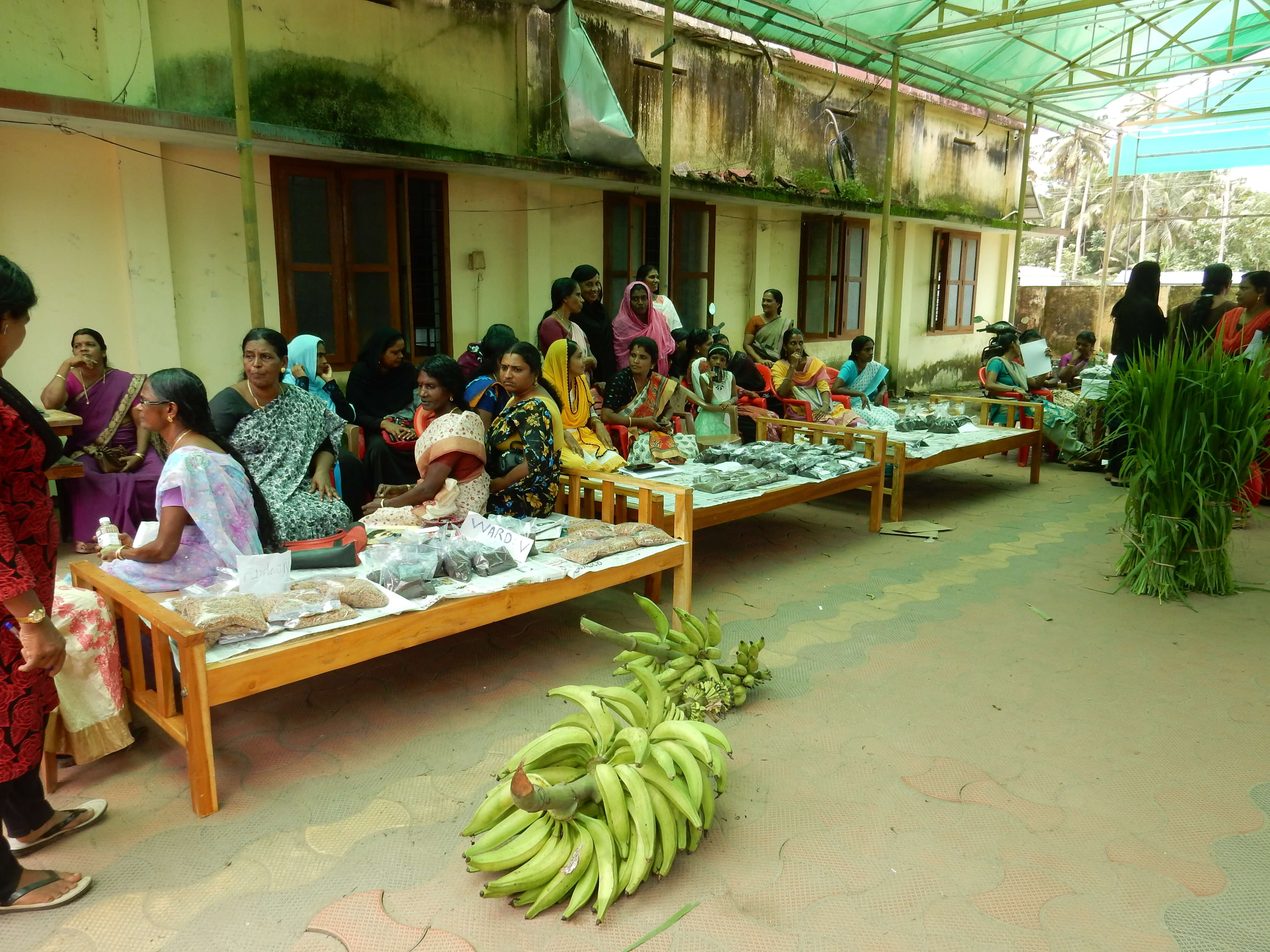 Local marketing of farm produces- sesamum, turmeric, fodder, millets, banana by the groups